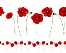 Red Poppies Horizontal Seamles...