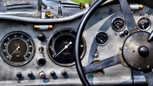 Close-Up Of Vintage Car Dashbo...