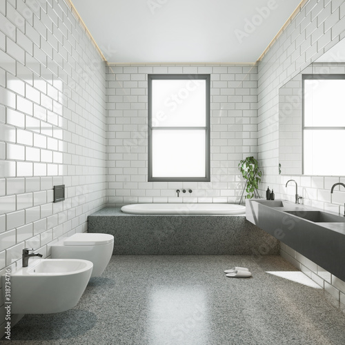 Fototapeta Modern bathroom with white glossy tile and double concrete sink