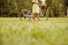 Crop Woman With Retro Bike On ...