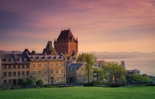 Chateau Frontenac Hotel Against Sky During Sunset