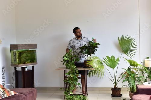 Homem cuidando do Jardim dentro do apartamento Wallpaper Mural