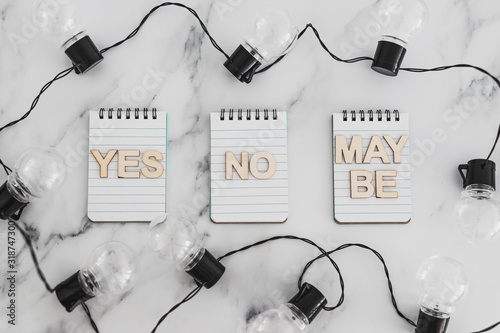 decision making process, group of notepads with yes no and maybe options and str Canvas-taulu