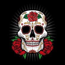 Sugar Skull Vector With Rose L...
