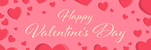 Happy Valentines Day Background Vector Banner With Red Pink Hearts