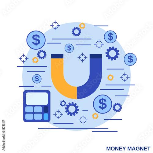 Photo Money magnet, funds accumulation flat design style vector concept