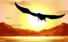 Abstract Background With The Silhouette Of An Eagle, Flying Over The Water On Sunrise. Mountain Landscape. Morning At Mountains Landscape, Peaks And Sky. Vector Illustration.