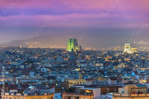 Photo Barcelona Spain, aerial view night city skyline at city center