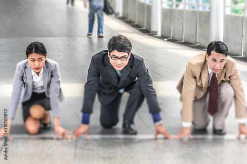 Colleagues Preparing To Run On Bridge Fototapet