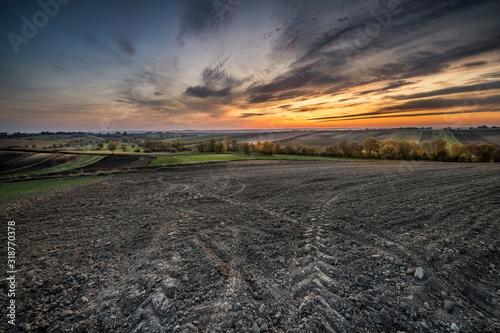 Plowed fields during beautiful sunset Wallpaper Mural