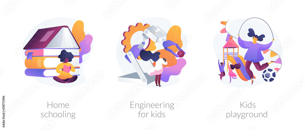 Fototapeta Children education and recreation. icons set. Home schooling, engineering for kids, kids playground metaphors. Entertainment and learning. Vector isolated concept metaphor illustrations.
