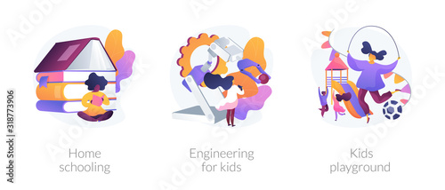 Fototapeta Children education and recreation. icons set. Home schooling, engineering for kids, kids playground metaphors. Entertainment and learning. Vector isolated concept metaphor illustrations. obraz