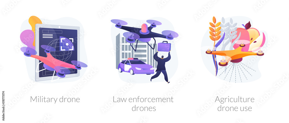 Fototapeta Universal quadcopters use. Industrial multifunctional quadrotors application. Military drone, law enforcement drones, agriculture drone use metaphors. Vector isolated concept metaphor illustrations