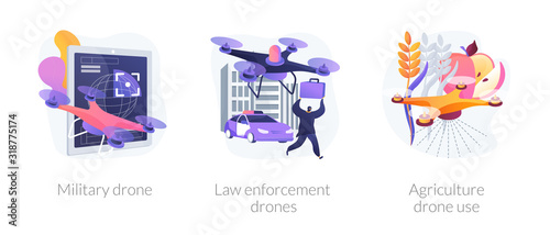 Fototapeta Universal quadcopters use. Industrial multifunctional quadrotors application. Military drone, law enforcement drones, agriculture drone use metaphors. Vector isolated concept metaphor illustrations obraz