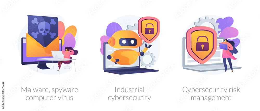 Fototapeta Antivirus software development. Malware, computer virus and spyware, industrial cybersecurity, cybersecurity risk management metaphors. Vector isolated concept metaphor illustrations