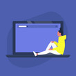 Young female character sitting on a laptop, copy space, design template