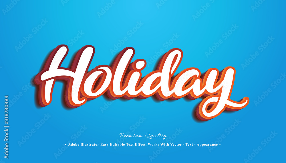 Fototapeta Holiday editable 3d text effect