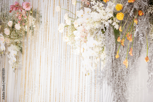 White wedding flowers background and wedding decorations