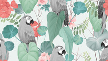 Floral Seamless Pattern, Macaw...