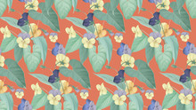 Floral Seamless Pattern, Yellow And Purple Pansy Flowers With Leaves On Orange