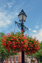 Wrought Iron Street Lamp And Flower Baskets