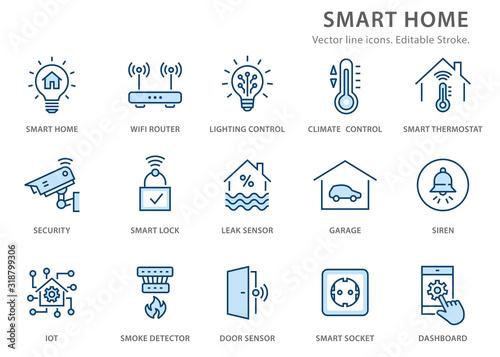 Smart home flat line icon set Fototapeta