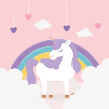 Unicorn Hearts Rainbow Clouds ...