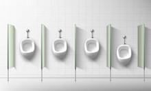 Ceramic Urinals In Public Male...