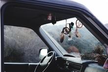 Dreamcatchers Hanging In Car