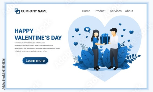 Fototapety, obrazy: Loving man give gift to woman. Couple is celebrating valentine's day. Can use for web banner, infographics, landing page, web template. Flat vector illustration