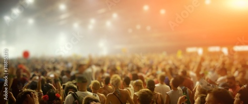 Crowd During Music Concert At Night - fototapety na wymiar