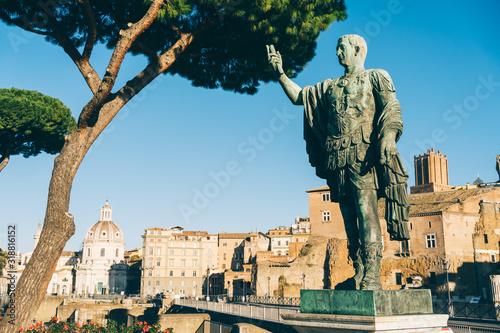 Rome, Italy - Dec 31, 2019: Bronze statue of Emperor Nerva (30 AD-98 AD) Canvas Print