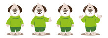 Vector Graphic Illustration Of A Cute Brown Dog Cartoon Character Wearing Green Clothes With Different Feelings Like Happy, Thumbs Up, Sad And Helpless