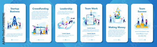 Obraz Business process mobile application banner. Business people - fototapety do salonu