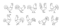 Cock Of Animal Isolated Outline Set Icon.Vector Illustration Set Rooster Cockerel.Vector Outline Icon Cock Of Animal.