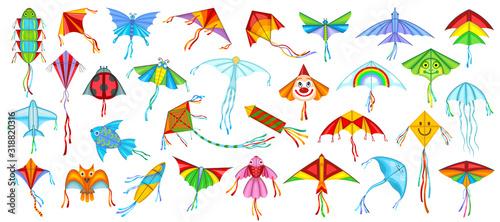 Fototapeta Flying kite vector illustration on white background