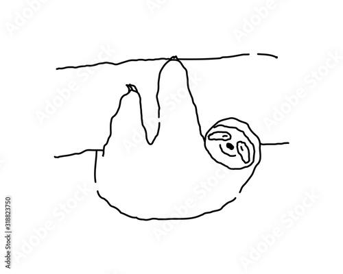 かわいいナマケモノのイラスト/手書き/白黒/素材/ゆるキャラ Tapéta, Fotótapéta