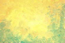 Abstract Painting Handmade Yellow Green Background. Art Abstract Grunge Gouache Background.