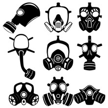 Military And Civilian Gas Masks. Icons Of The Epidemic. Chemical And Bio-defense.