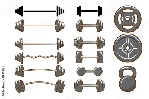 Obraz Dumbbell,barbell,Kettlebell vector set collection graphic clipart design - fototapety do salonu