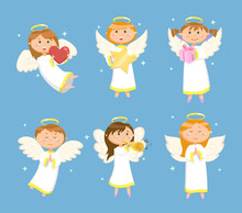 Christmas And Valentines Day Characters, Angels Or Cupids With Wings And Halo Vector. Heart And Star, Gift Box And Trumpet, Hands Folded In Prayer
