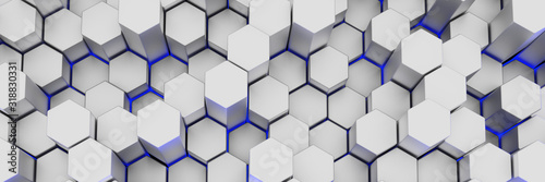 White wall of honeycombs. Chaotic Cubes Wall Background. Panorama with high resolution wallpaper. 3d Render Illustration - 318830331