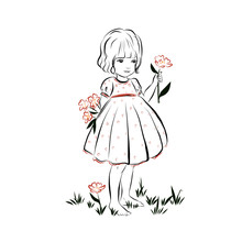 Little Girl In Dress Holding Flower. Cute Hand Drawn Vector Illustration For Print In Book, Poster, Card, Children's Decoration Element.