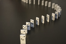 High Angle View Of Dominoes On...