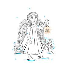 Christmas Angel Line Drawing, ...