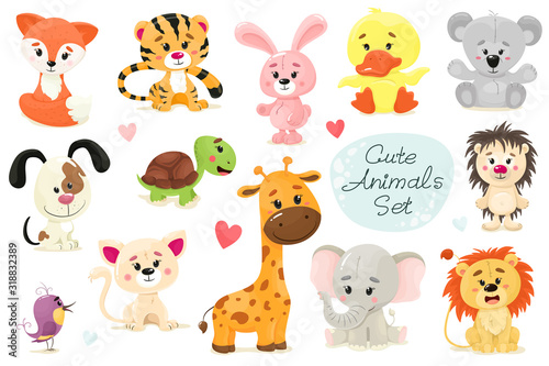 Cute set of animals. Vector animal isolates in cartoon flat style. White background. #318832389