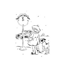 Girl With A Dog Are Standing Outside In The Winter At The Clock On Which The Chimes Strike Midnight