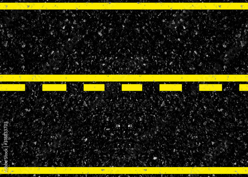 Obraz na plátně lignes jaunes sur chaussée