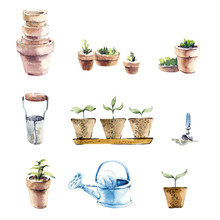 Set Of Garden Objects. Vintage Watercolor Set On The Garden Theme. Hand Drawn Watercolor Illustration
