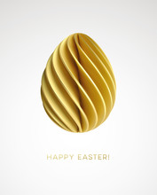 Modern Trendy Abstract Origami Paper Easter Egg. 3D Realistic Vector Graphics For The Design Of Flyers, Brochures, Leaflets, Posters And Cards. Vector Illustration
